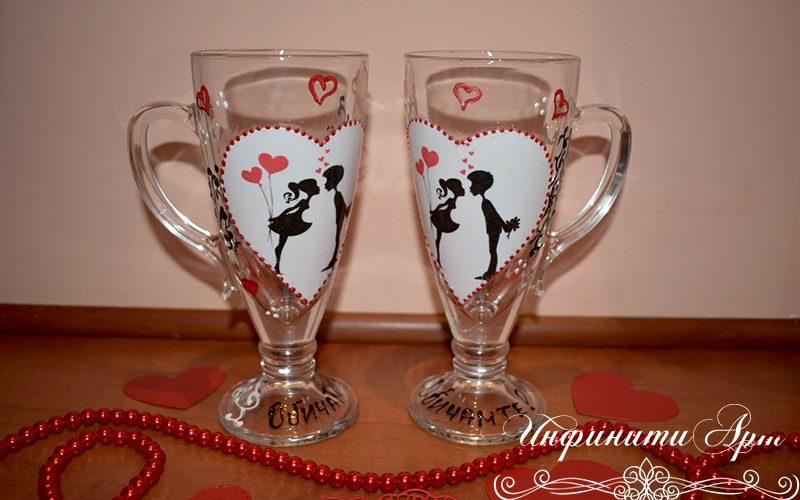 ръчна изработка чаши с влюбени