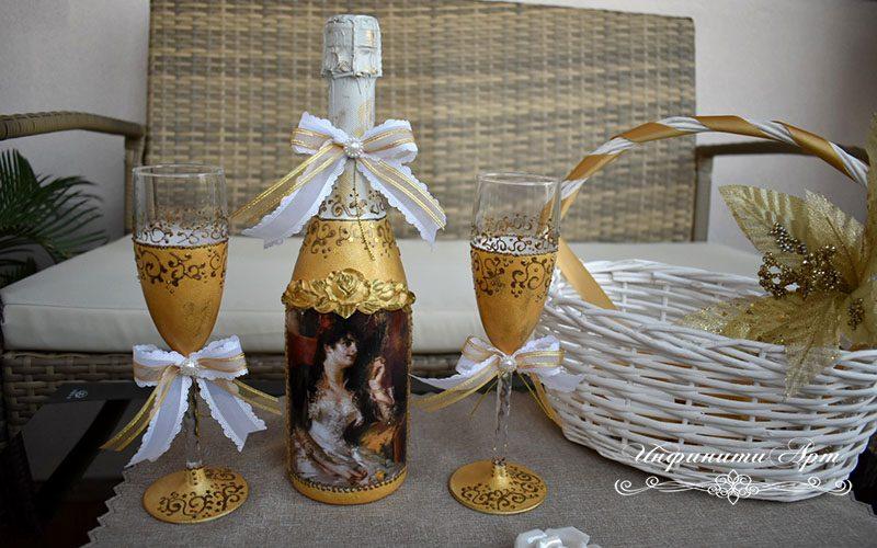 Ръчна изработка комплект бутилка с чаши
