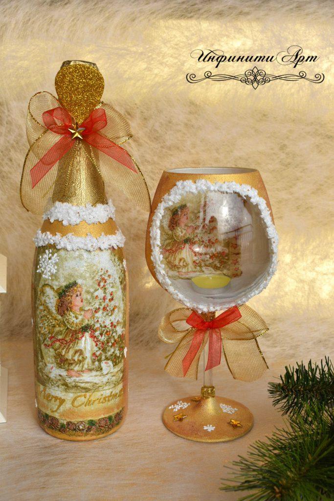 Коледна бутилка със свещник