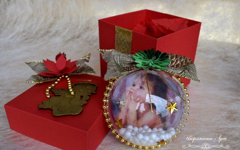 Коледна топка със снимка в кутия