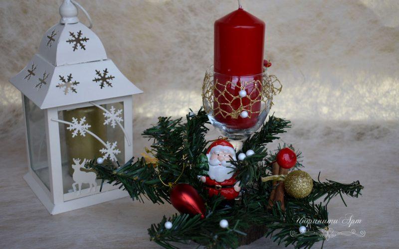 Коледен сувенир ръчна изработка върху дървено трупче