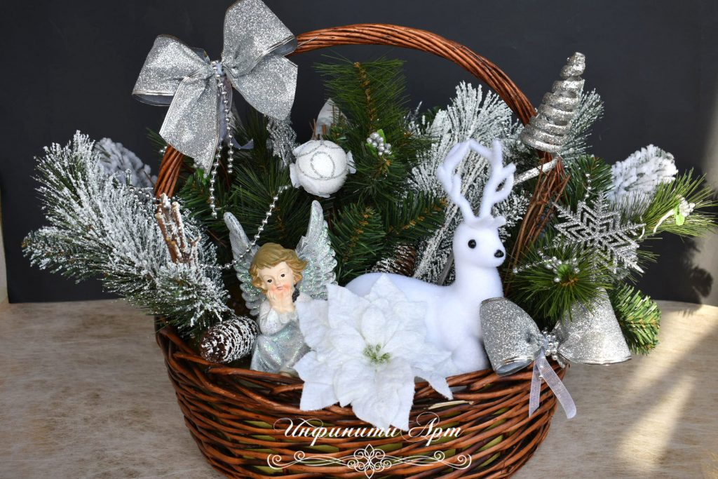 Коледна декорация в кошница