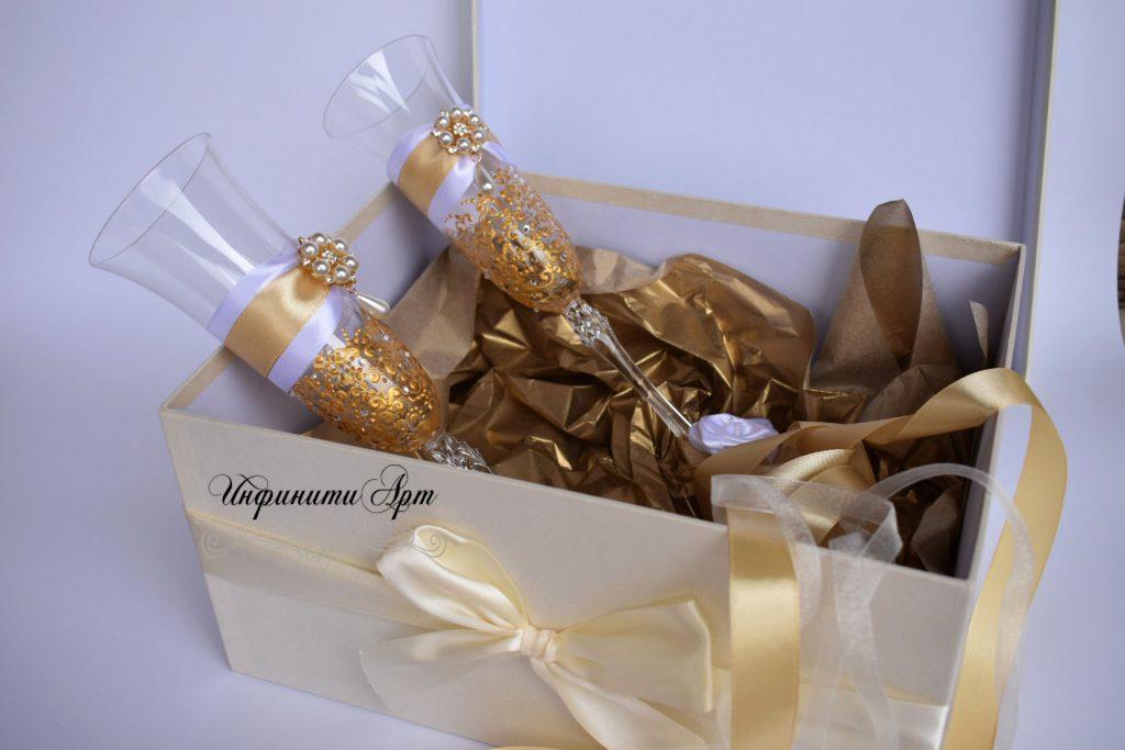 Сватбени чаши в луксозна кутия