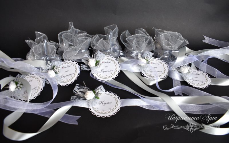 Бутониери гривни за шаферки в сребро  моминско парти